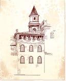 Medieval village. Digital drawing freehand a medieval village