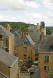 Medieval village. A French medieval village as seen from a high vantage point royalty free stock photo