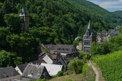 Medieval village Bacharach. City panorama from hill, covered by Stock Photos