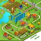 Medieval Village And Castle Illustration Stock Image