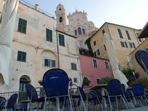 Medieval village of Cervo. Vittorio Emanuele square in the medieval village of Cervo, Liguria, Italy Stock Photo
