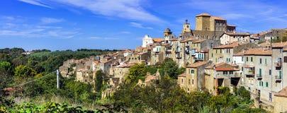 Medieval village Farnese in tuffa rocks viterbo province. stock photo