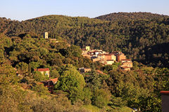 Medieval village with forest hills landscape, Provence, France. Royalty Free Stock Photo