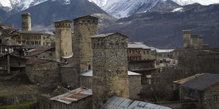 The medieval village of Mestia in Svaneti, Georgia. UNESCO World Royalty Free Stock Photography
