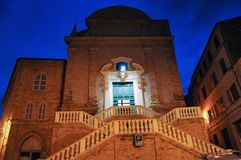 Medieval village of Mogliano in central Italy. Night shot of the church of San Gregorio Magno in the medieval town of Mogliano. Marche region, central Italy royalty free stock image