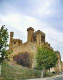 Medieval village of Olite with towers from the old castle, Navarre, Spain. Stock Photos