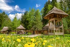 Medieval village Paseka, Slovakia. STRECNO, SLOVAKIA - MAY 1: Medieval village Paseka on May 1, 2019 in Strecno stock photo