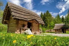 Medieval village Paseka, Slovakia. STRECNO, SLOVAKIA - MAY 1: Medieval village Paseka on May 1, 2019 in Strecno royalty free stock photo