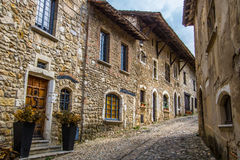 Medieval village of Perouges, France. Pérouges is a commune in the Ain department in eastern France. It is a medieval walled town 30 km northeast of Lyon. It royalty free stock image