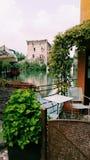 Medieval village river in Italy. Medieval village near lake Garda. Borghetto near Valeggio sul Mincio Stock Photography