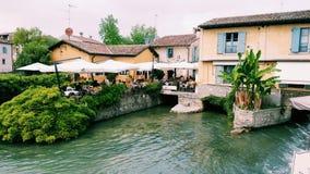 Medieval village river in Italy. Medieval village near lake Garda. Borghetto near Valeggio sul Mincio Royalty Free Stock Photography