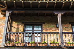 Medieval village of Santillana del Mar in Spain. Balcony of a typical house of the medieval village of Santillana del Mar in Cantabria, Spain stock photo