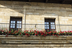 Medieval village of Santillana del Mar in Spain. Balcony of a typical house of the medieval village of Santillana del Mar in Cantabria, Spain royalty free stock photo