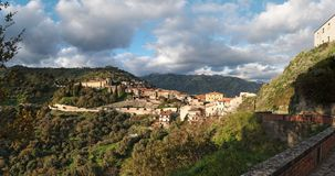 Medieval village of Savoca in Sicily, Italy, at su Stock Photo