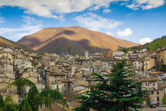 The medieval village of Scanno Stock Photos