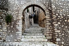 Medieval village of Sermoneta, in central Italy. stock photos