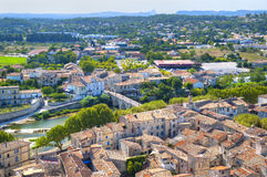 Medieval Village of Sommiers. The New & the Medieval Village of Sommiers seen from the tower of the old fortress royalty free stock image