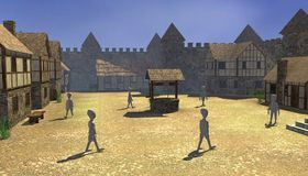 Medieval village - square with old well Stock Photos