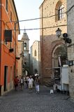 Medieval village of Staffolo in central Italy. Typical medieval architecture in the historic center of Staffolo village in the province of Ancona. Marche region stock photos