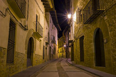 Medieval village street at night Royalty Free Stock Image