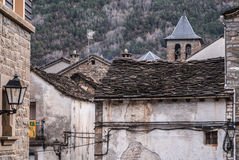 The medieval village of Torla in Spain pyrinees of Aragon Royalty Free Stock Images