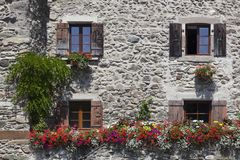 Medieval village of Yvoire. Facade in the medieval village of Yvoire,  Haute-Savoie, France Stock Photography