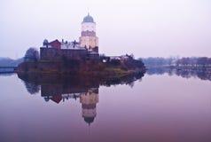 Medieval Vyborg castle on island Stock Photos