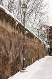 Medieval walkway in wintertime Stock Images