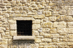 Medieval Wall. Shot of stone wall with window. Castle in San Marino, Europa Stock Photo