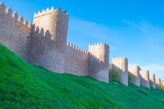 Medieval wall around the city of Avila Royalty Free Stock Images