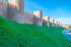 Medieval wall around the city of Avila Stock Images