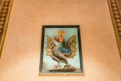 Medieval wall decoration in Palazzo della Ragione Stock Photos