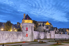 Medieval wall in historical city Vannes Stock Image