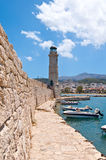 The medieval wall the lighthouse. Rethymno city, The Crete island,Greece. Stock Photos