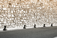 Medieval wall and new road in France Stock Photos