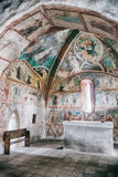Medieval wall paintings in all Saints Gothic Church in Ludrova, Stock Photos