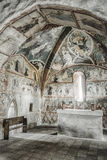 Medieval wall paintings in all Saints Gothic Church in Ludrova, Royalty Free Stock Photos