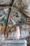 Medieval wall paintings in all Saints Gothic Church in Ludrova, Royalty Free Stock Images