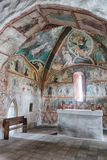 Medieval wall paintings in all Saints Gothic Church in Ludrova, Stock Images