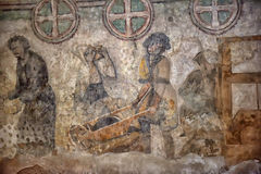 Medieval wall paintings in the church Royalty Free Stock Photos