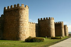 Medieval wall. Surrounding old town in Avilla Spain stock photography
