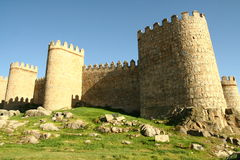 Medieval wall. Surrounding old town in Avilla Spain royalty free stock photo