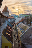 Medieval wall and tower in old Tallinn city Royalty Free Stock Photos