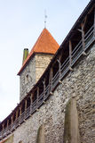 Medieval wall and tower in old Tallinn city Royalty Free Stock Images