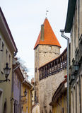 Medieval wall and tower in old Tallinn city Stock Photo