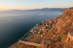 Medieval walled town of Monemvasia, Greece Stock Images