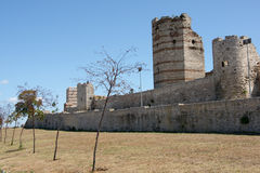 Medieval Walls. Remnants of the famous Theodosian Walls of Constantinople stock image
