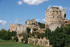 Medieval Walls. Remnants of the famous Theodosian Walls of Constantinople royalty free stock photos