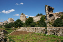 Medieval Walls. Remnants of the famous Theodosian Walls of Constantinople royalty free stock image