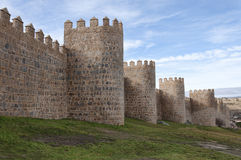Medieval walls, Avila, Spain. Medieval walls surrounding Avila (Castile and Leon, Spain), home of medieval mystic St. Teresa, the old town, the walls and Stock Photo